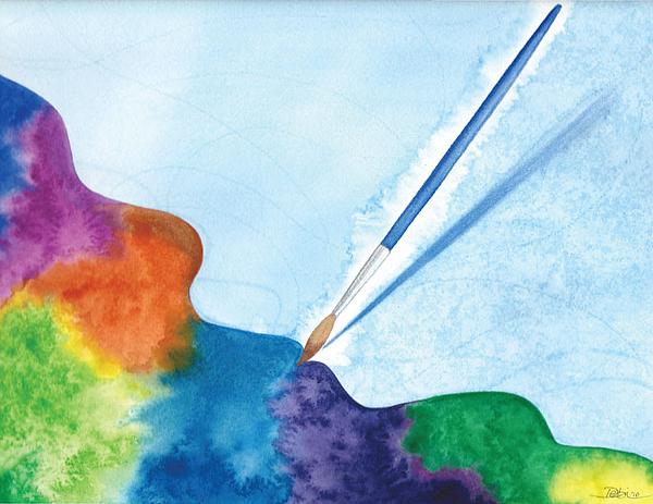 Watercolor Painting - Dancing Paintbrush by Debi Hammond