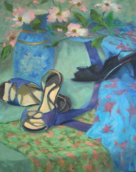 Dancing Painting - Dancing Shoes And Dogwoods by Margaret Aycock