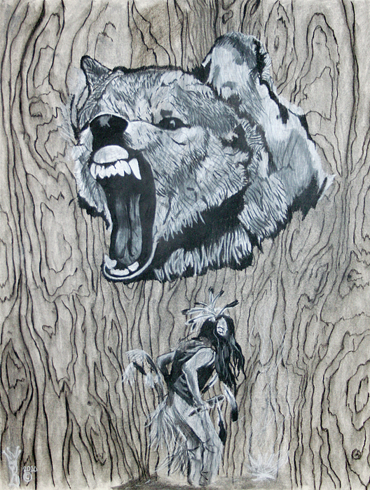 Drawings Drawing - Dancing With The Spirit Of The Wolf by KeMonee Casey