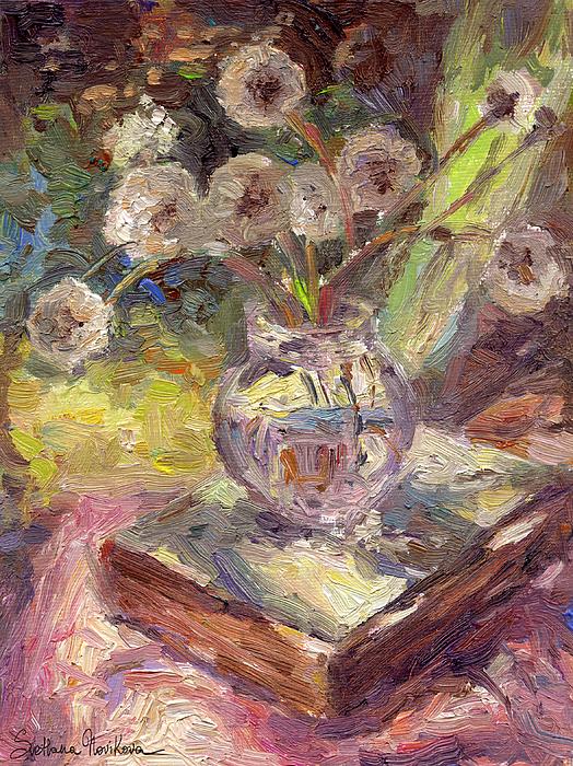 Dandelions Flowers Painting - Dandelions Flowers In A Vase Sunny Still Life Painting by Svetlana Novikova