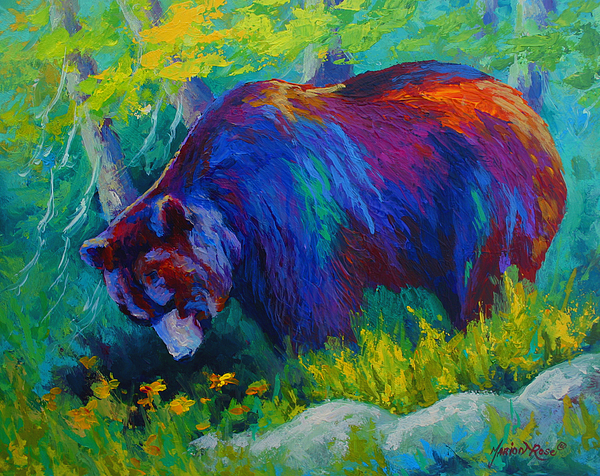 Western Painting - Dandelions For Dinner - Black Bear by Marion Rose