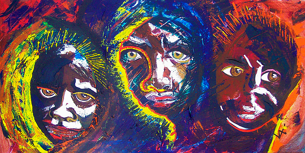 Darfur Painting - Darfur - Eyes Of The Future by Valerie Wolf