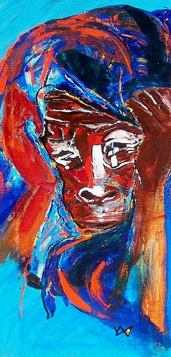 Darfur Painting - Darfur - She Cries by Valerie Wolf