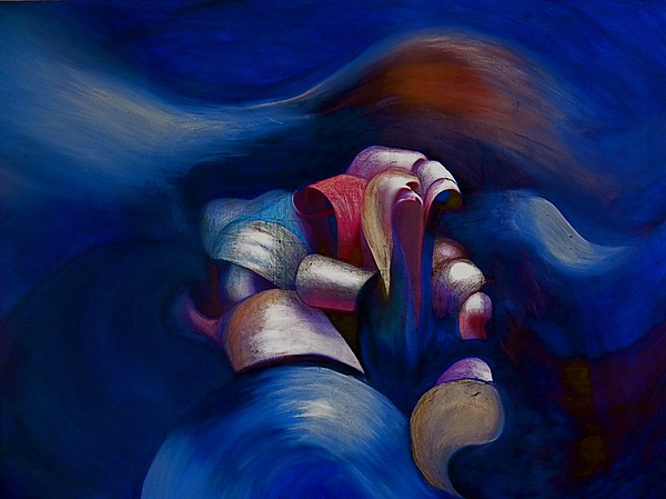 Abstract Painting - Dark Blue by Fanny Diaz