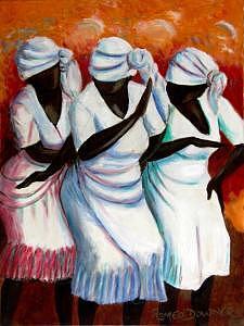 Black Ladies Dancing Painting - Dark Chocolate In Rhythm by Romeo Downer