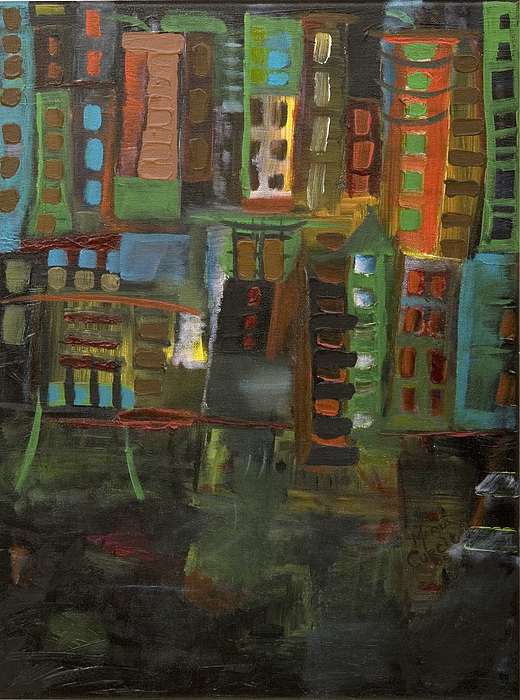 Abstract Cityscape Painting - Dark City by Maria Curcic