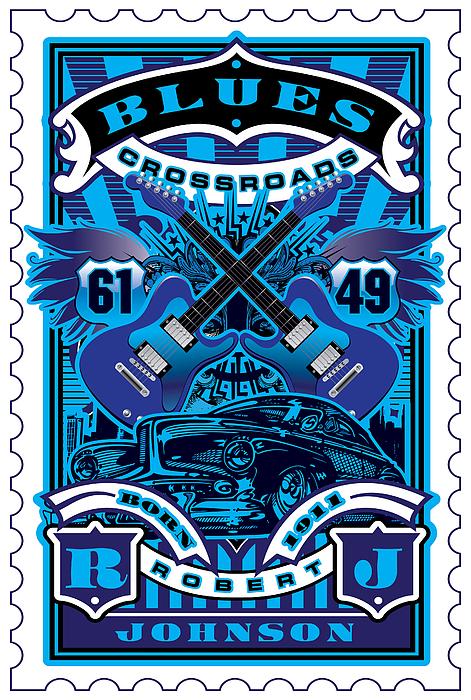 David Cook Umgx Vintage Studios Blues Crossroads Illustrated Stamp Art Poster Digital Art by David Cook  Los Angeles Prints