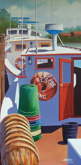 Workboats Painting - Davis Creek Boats by Hugh Harris