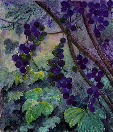 Grapes Painting - Dawn Arbor by Sandy Clift