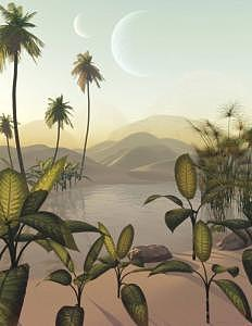 Space Digital Art - Dawn At The Twilight Oasis by Graham Conrad