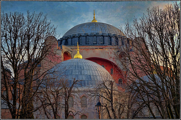 Hagia Sophia Photograph - Dawn Over Hagia Sophia by Joan Carroll