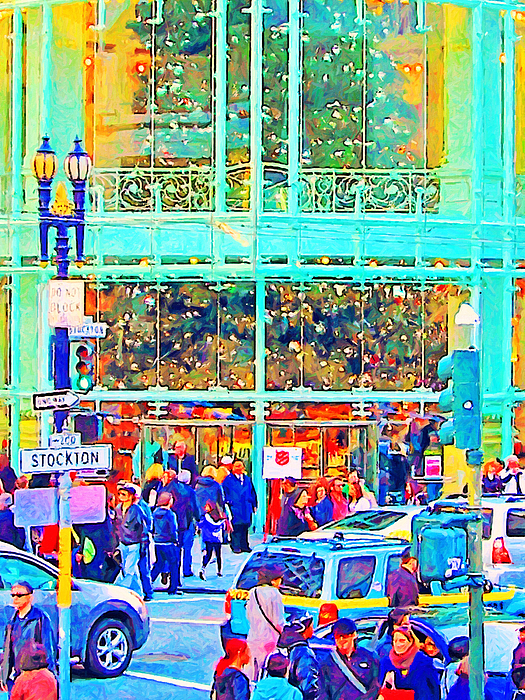 Street Photograph - Day Before Christmas At Neiman Marcus . Photoart by Wingsdomain Art and Photography