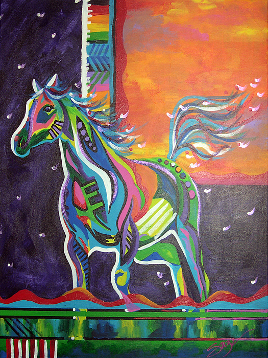 Horse Painting - Day Into Night by Suze Stewart