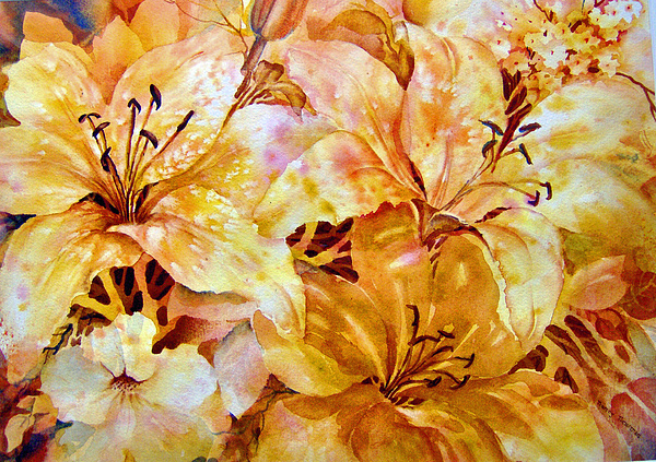 Day Lilies Painting - Day-lilies by Nancy Newman