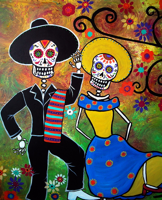 Day Of The Dead Bailar Painting By Pristine Cartera Turkus