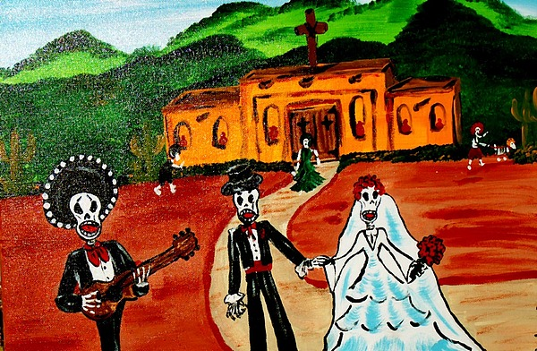 Mexico Painting - Day Of The Dead Wedding by Barbara Cruz