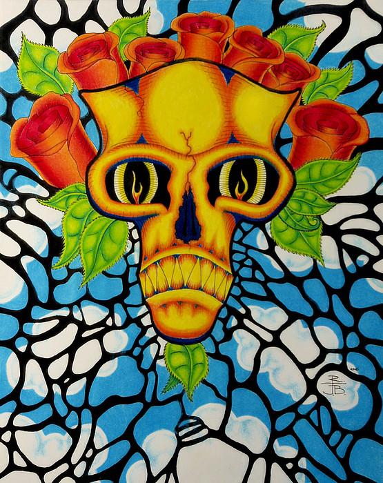 Skull Drawing - Death Mask by Robert J Ball