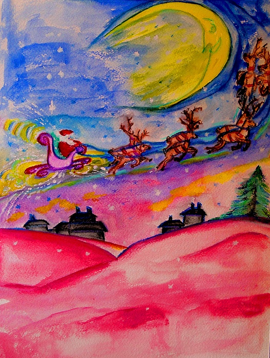 Quarter Moon Painting - December 24th by Helena Bebirian