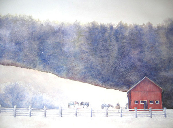 Landscape Painting - December Day At The Horse Barn by Barbara Widmann