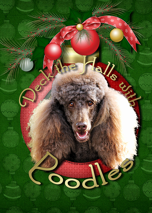 Poodle Digital Art - Deck The Halls With Poodles by Renae Laughner