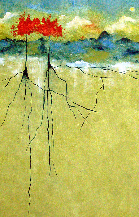 Abstract Painting - Deep Roots by Ruth Palmer