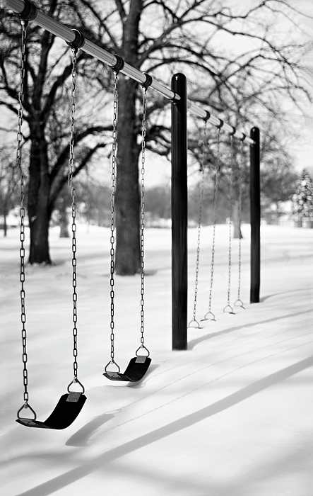 Vertical Photograph - Deep Snow & Empty Swings After The Blizzard by Trina Dopp Photography