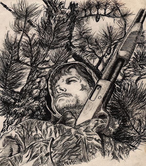 Hunting Drawing - Deer Hunter by Kathleen Kelly Thompson