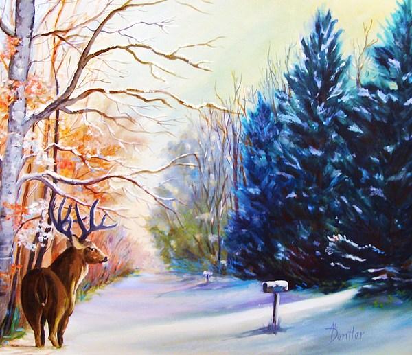 Wildlife Painting - Deer Season by Anne Dentler