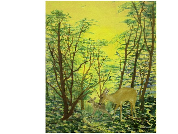Landscape Painting - Deer With Fawn by Hal Newhouser