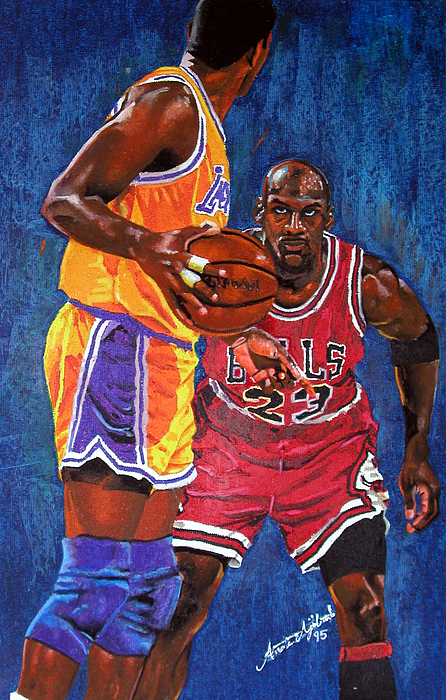Basketball Painting - Defensive Stand by Andre Ajibade