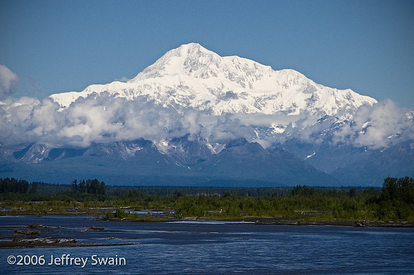 Landscape Photograph - Denali And The Susitna River   Talkeetna Alaska by Jeffrey Swain