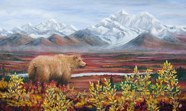 Denali Highway Painting - Denali Highway Visitor by Dee Carpenter