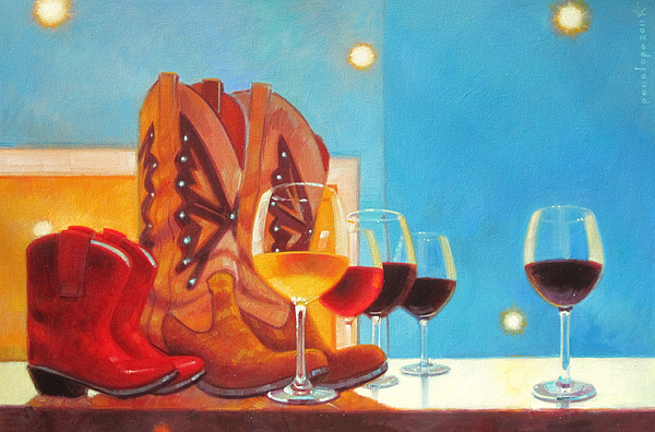 Wine Painting Painting - Denim And Diamonds by Penelope Moore
