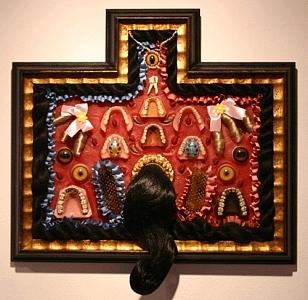 Assemblage Sculpture - Denture Reliquary by Susan Danis
