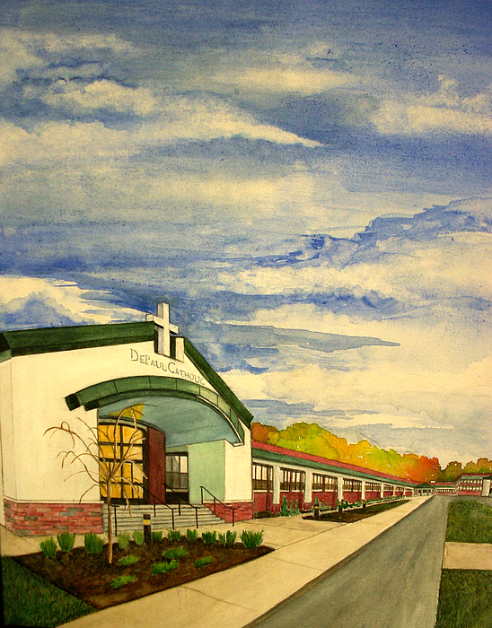 Landscape Painting - Depaul Catholic by Joe Lanni