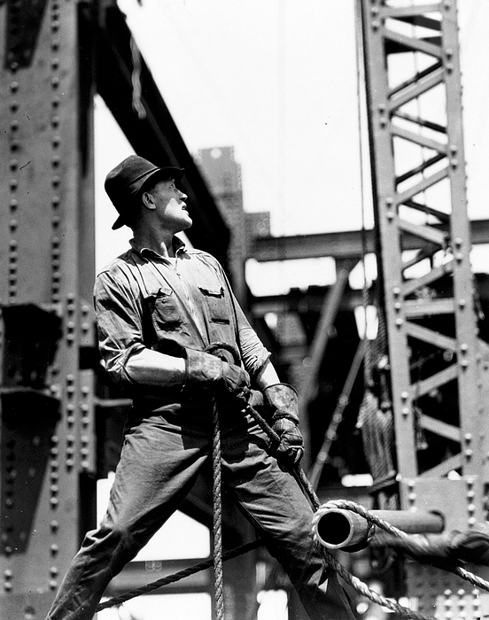 Black And White Photograph; B/w Photo; Photography; Architecture; Exterior; Facade; Male; Construction; Building; Work; Worker; Workers; Labour; Labourer; Labourers; Builder; Builders; 1930s; 30s; Thirties; Strength; Achievement; Skyscraper; High-rise; Teamwork; Girder; Girders; Scale; Strong; Strength; Challenge; Derrick; Man; Portrait; Empire State Building; Achievement; Challenge; Landmark; Us; Usa; History; Historical; America; American; United States; Overalls; Gloves; Rope; Ropes Painting - Derrick Man   Empire State Building by LW Hine