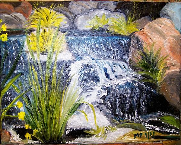 Descanso Waterfall Painting by Madeleine Prochazka