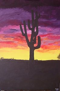 Cactus Painting - Desert Cactus At Sunset by Pamela DuBois