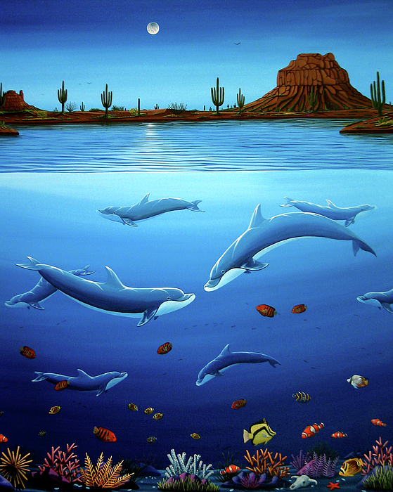 Ocean Painting - Desert Dolphins Close  by Lance Headlee