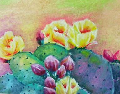 Cactus Flowers Painting - Desert Flowers by Patricia Halstead
