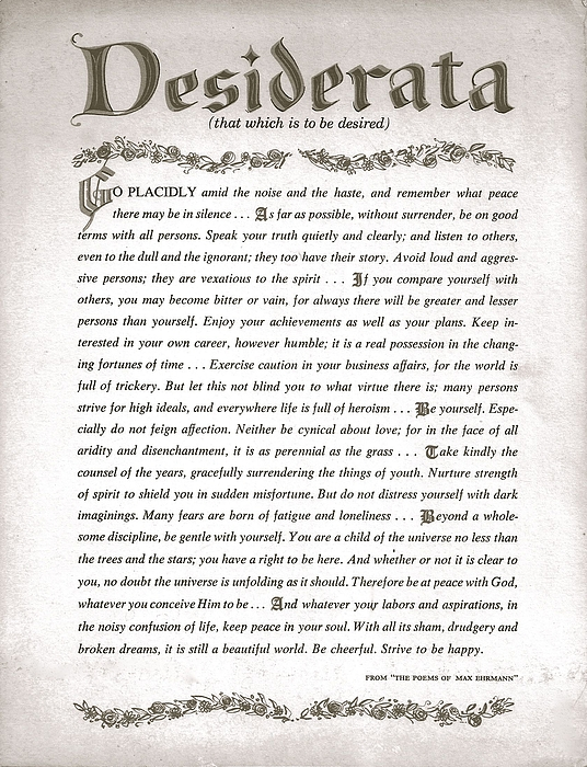 Desiderata Drawing - Desiderata 3 by Desiderata Gallery