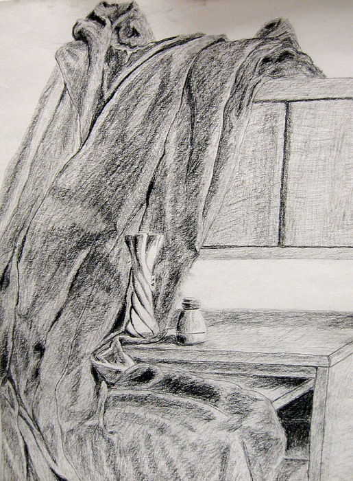Drawings Drawing - Desk And Curtain by Diana Prout