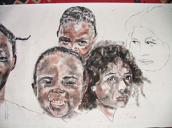 Ethnic Drawing - Detail - Clear Blue Sky 3 by Lynn Gray