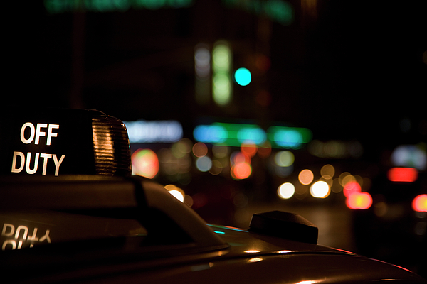 Horizontal Photograph - Detail Of A Taxi At Night, New York City, Usa by Frederick Bass