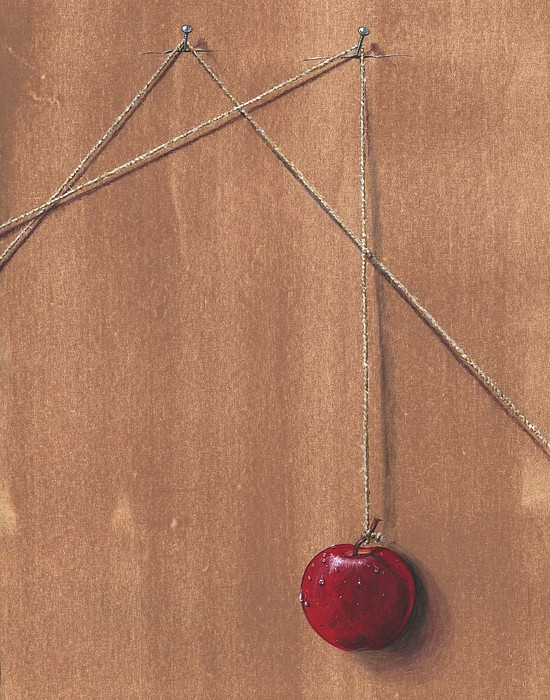 Apple Painting - Detail Of Balanced Temptation. by Roger Calle