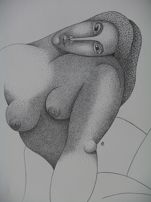 Sacha Circulism Drawing - Detailed  Seated Nude  2008 by S A C H A -  Circulism Technique