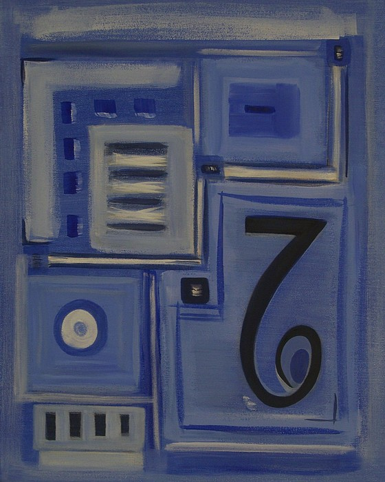 Abstract Painting - Details In Blue by Sandy Bostelman