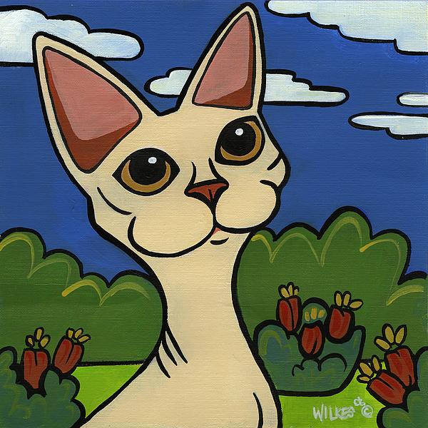 Cat Painting - Devon Rex by Leanne Wilkes