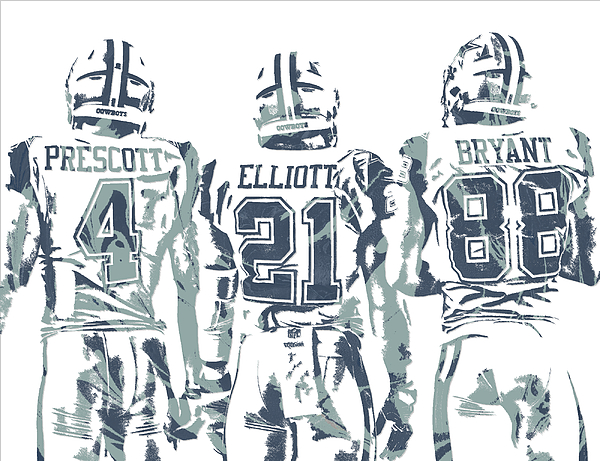 Dez bryant ezekiel elliott dak prescott dallas cowboys for Dak prescott coloring pages