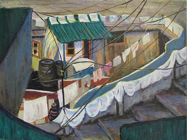 Landscape Painting - Dhobi by Art Nomad Sandra  Hansen